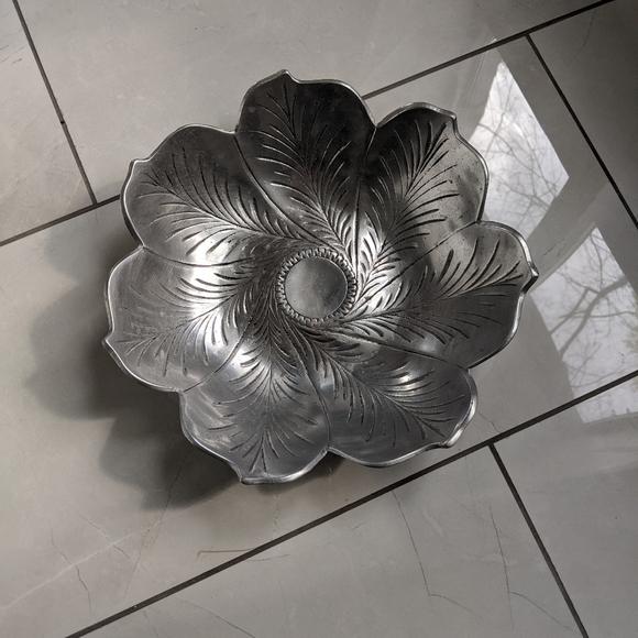 Large metal flower bowl
